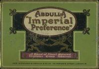 "ABDULLA ""IMPERIAL PRFERENCE"" A Blend of Finest Matured Virginian Grown Tobaccos Made In England By Abdulla & Co Ltd. 173, New Bond Street, London. W"