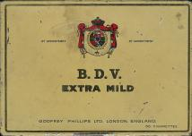 B.D.V. Extra Mild By Appointment By Appointment Goodfrey Philips Ltd. London, England 50 Cigarettes